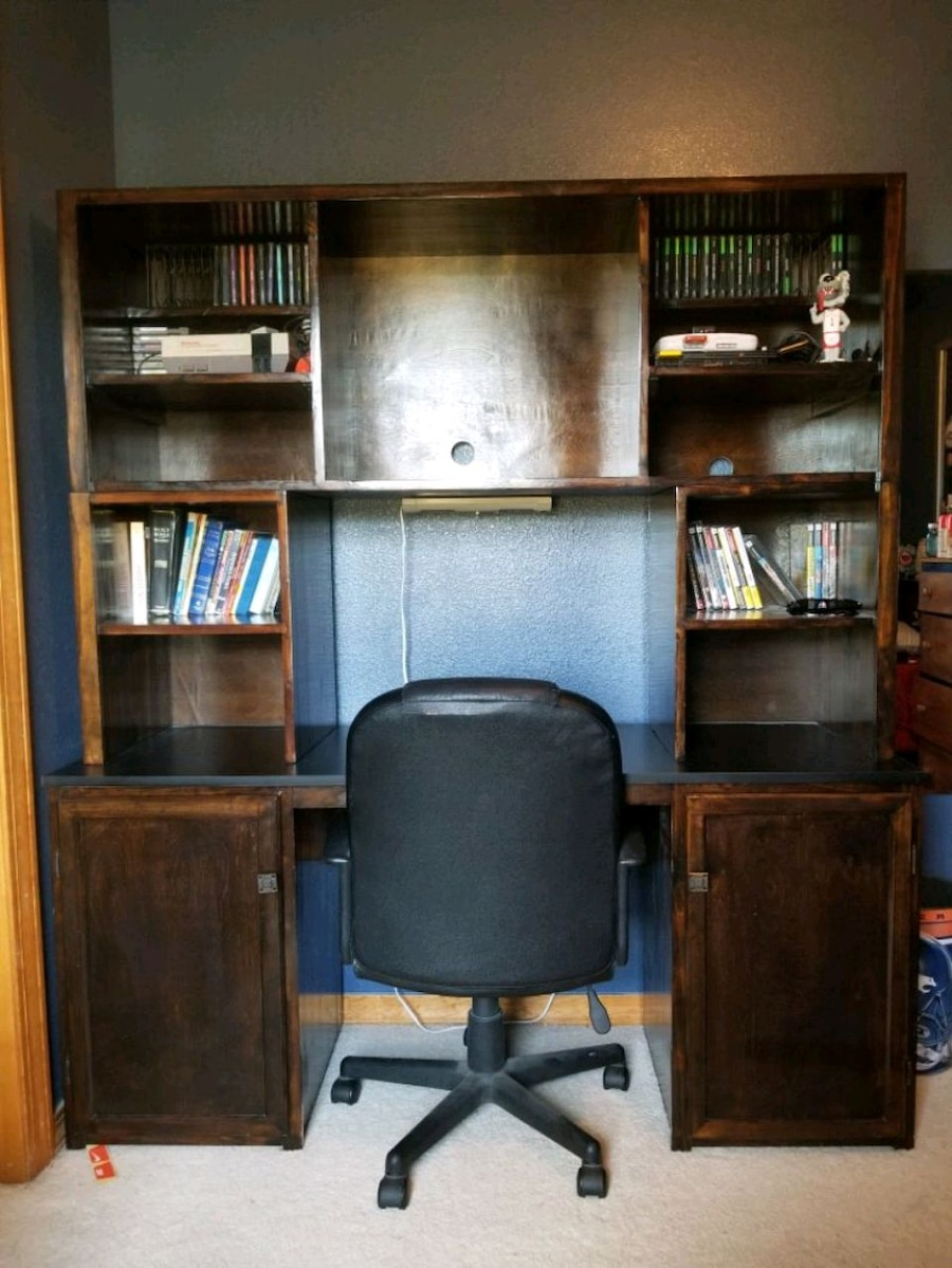 Photo Custom Entertainment Center with Desktop and Chair