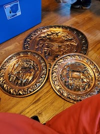 3 Cooper wall hanging plates