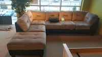 brown and black fabric sectional sofa