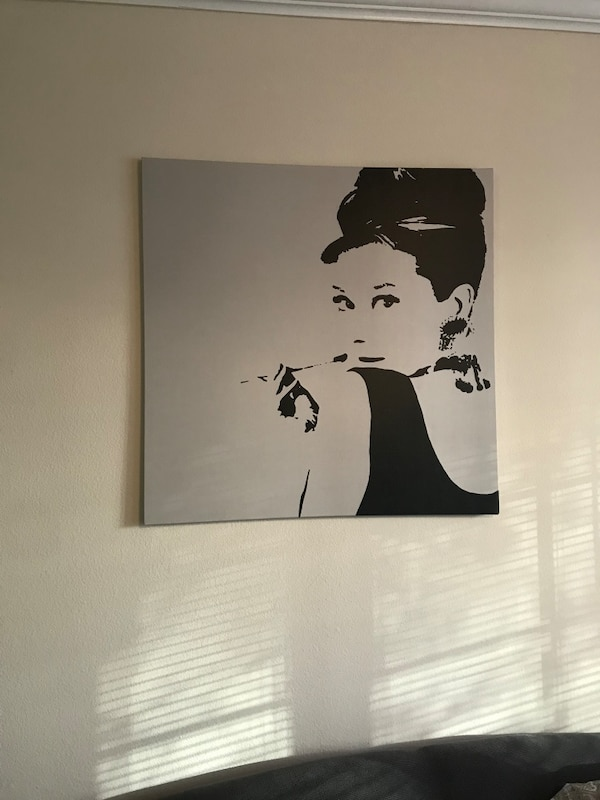 Audrey Hepburn painting with black wooden frame