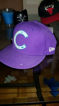 purple and white fitted cap Montréal, H3X 1V4
