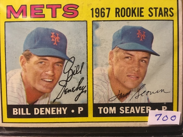 Used 1967 Mets Bill Denehy And Tom Seaver Signed Trading Card For