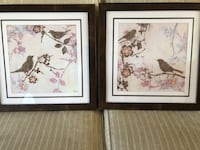 "2 FRAMED BIRD PRINTS WOOD FRAME PINK AND BROWN 18""x18"" Wood-Ridge, 07075"