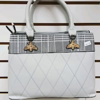 white and black leather tote bag Toronto, M3N 2G9