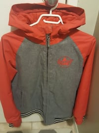 gray and red zip-up hoodie