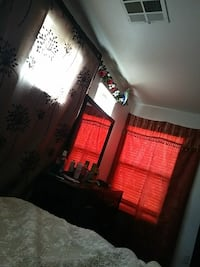 red window curtain