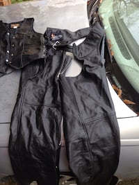 Real leather motorcycle chaps and vest
