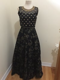 black and gray floral spaghetti strap dress Brampton, L6V 0M4