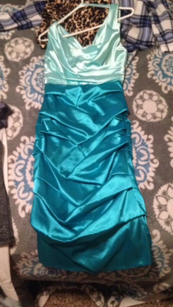 women's teal spaghetti strap dress