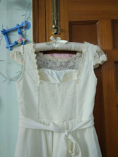 white and yellow floral square neckline cap sleeve dress