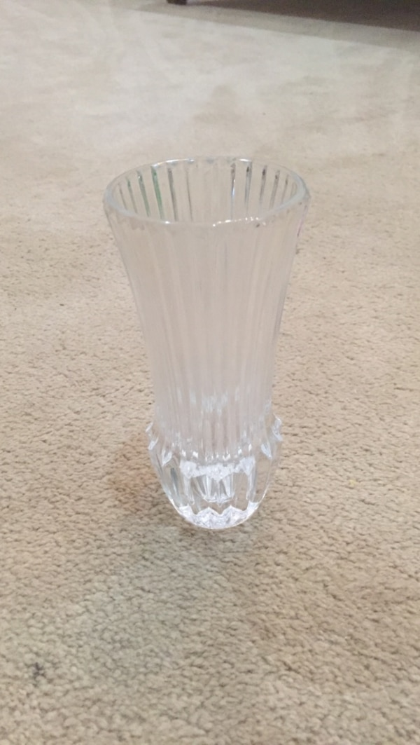 "Heavy crystal bud vase. 6"" tall."