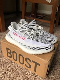 Pair of zebra adidas yeezy boost 350 v2 with box College Station, 77845
