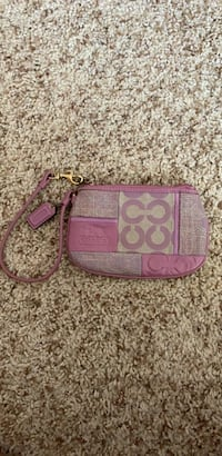 Pink and gray coach wristlet