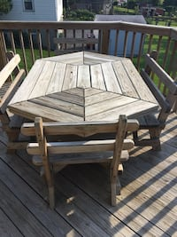 Handmade wooden Patio table and chairs. Seats 6 comfortably. Price negotiable if it's a reasonable offer. Must be able to pick up. Lower Providence, 19403