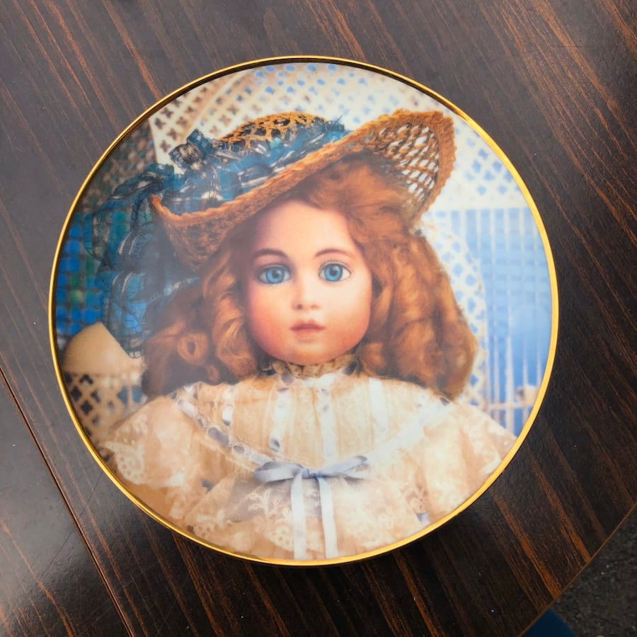 Antique Doll Collectible Plate, Porcelain Limited Edition