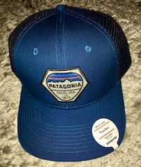 New Patagonia Blue Trucker Baseball Cap Hat with Adjustable Back Snaps Chicago, 60611
