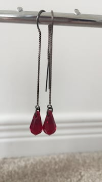 pair of silver-colored red quartz hook earrings Innisfil, L9S