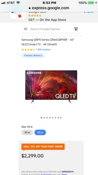 BRAND NEW SAMSUNG 65 INCH QLED Q8FN 240 HZ SMART 4K HDR ELITE