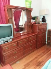 Solid wood heavy long dresser with mirror on top  Linden, 07036