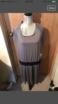 Women's gray and black dress with elastic waist.
