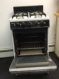 "White and black propane range oven never used. 20"" wide 24"" deep Huntington, 11743"