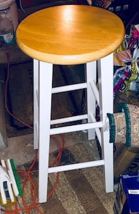 Solid Maple Wood Bar Stool With White Legs