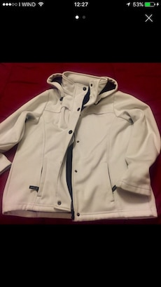 giacca button-up bianco con hoodie