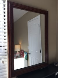 Large Brown Framed Mirror
