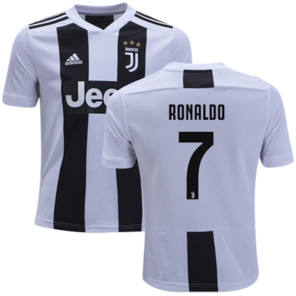 hot sale online f80c8 34610 18/19 Juventus Men's #7 Cristiano Ronaldo White & Black Home Jersey Adidas  Authentic Short Shirt