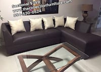brown leather sectional sofa with throw pillows Plantation, 33317