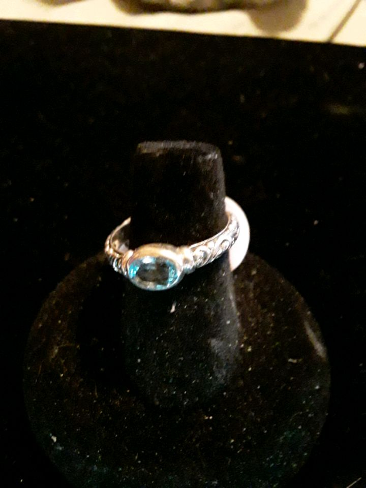 Sterling Silver Ring Round Swiss Blue Topaz and Round White CZ Stones 6468