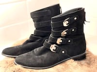 Stuart Weitzman Genuine Suede Leather Ankle Boots with Silver Buckle Accents Los Angeles, 90036