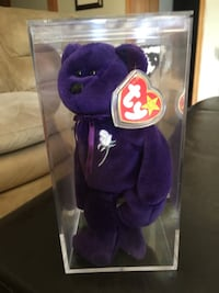 Purple and white ty beanie baby bear plush toy