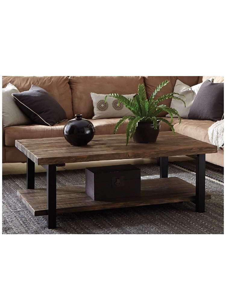 Brown Wooden Coffee Table And Black Leather Sectional Sofa