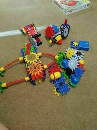 multicolored car with tracks toy set