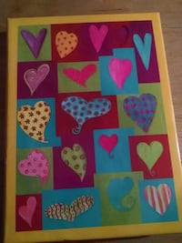 yellow, red, and blue heart print poster Lake Zurich, 60047