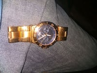 round gold chronograph watch with gold link bracelet Savannah, 31404