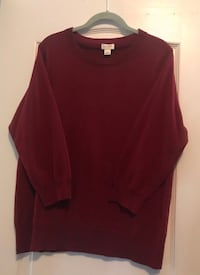 J. Crew Dark Red Merino Wool Sweater, Sz. XL Aldie, 20105