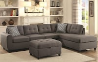 BRAND NEW Gray Tufted Fabric Sectional 2286 mi