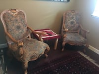 two brown wooden framed white padded armchairs Elk Grove, 95758