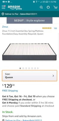 """New in the box queen 7.5"""" upholstered boxspring Bakersfield, 93311"""