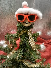 Vintage collectible home decor holiday Xmas accent piece Xmas Tree w shades & musical instruments