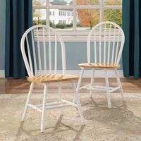 Better Homes and Gardens Autumn Lane Windsor Chairs, Set of 2, White and Natural Franklin Township, 08873