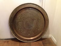 Chinese Brass engraved plate 30in diameter Wire in back for hanging New York, 10075