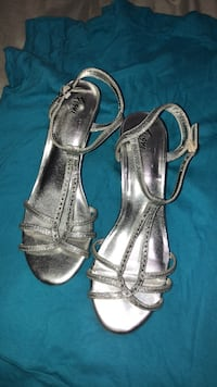 Pair of silver-colored open-toe sandals Montreal
