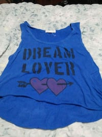 blue and black Dream Lover printed tank top