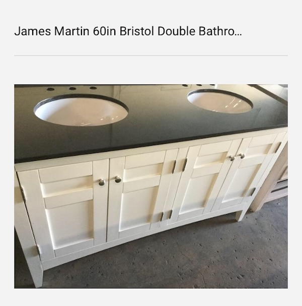 Used James Martin 60in Bristol Double Bathroom Vanity in Bright White with Black Granite Top for sale in Dallas
