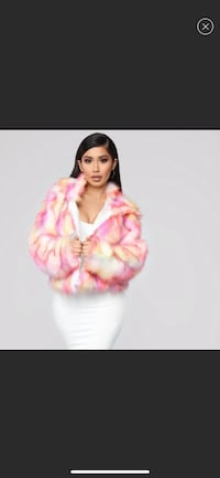 Brand New- Fashion Nova - Pink Multi Faux Fur Coat Upper Marlboro, 20772