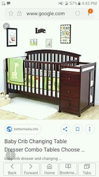 baby's brown wooden changing table with dresser combo screenshot 39 mi