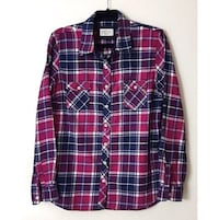 WEATHERPROOF Women Vintage pink plaid flannel shirt Long Sleeve Collar, Large